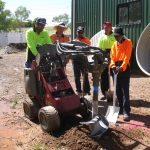 Jobs Futures workers L-R Nathan Marshall on Dingo, Overseer Shaun Doran, Michael Maher, Hezron Muliagatele & Wally Wilde